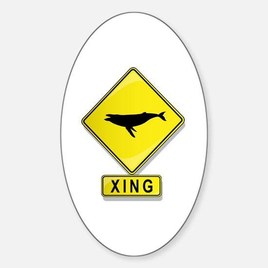 Humpback Whale XING Oval Decal
