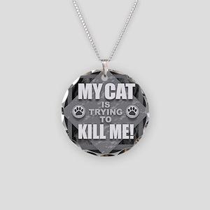 Cat Kill Necklace Circle Charm