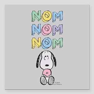 """Snoopy - NomNomNom Full Square Car Magnet 3"""" x 3"""""""