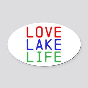 LOVE LAKE LIFE (TW) Oval Car Magnet