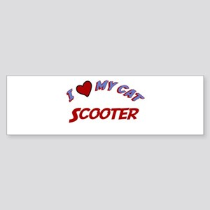 I Love My Cat Scooter Bumper Sticker