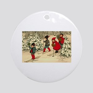 Little Skiiers Round Ornament