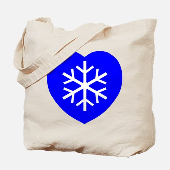 Love Blue Snowflake Heart Tote Bag
