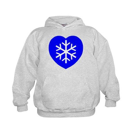 Love Blue Snowflake Heart Kids Hoodie