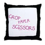 Pink Crop Paper Scissors Throw Pillow