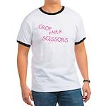 Pink Crop Paper Scissors Ringer T