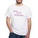 Pink Crop Paper Scissors White T-Shirt
