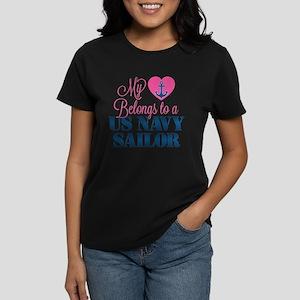 Heart Navy Sailor Women's Dark T-Shirt