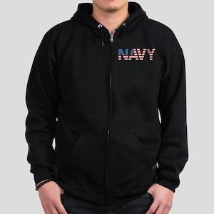 Navy Flag Zip Hoodie (dark)