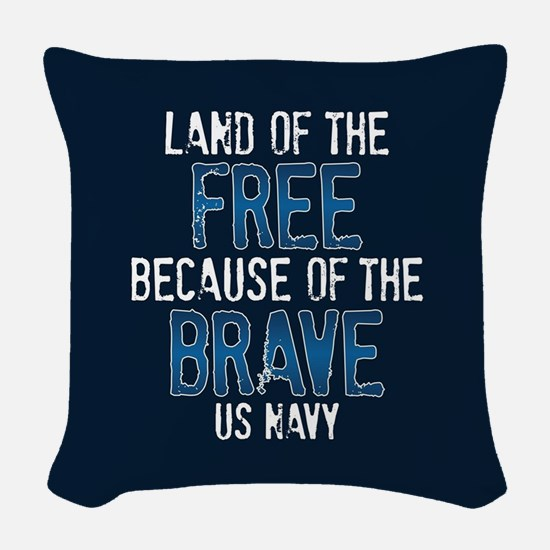 Land of the Free US Navy Woven Throw Pillow
