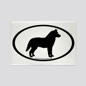 Siberian Husky Dog Oval Rectangle Magnet