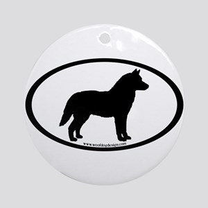 Siberian Husky Dog Oval Ornament (Round)