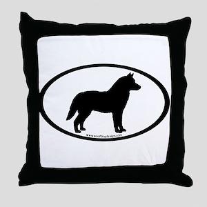 Siberian Husky Dog Oval Throw Pillow