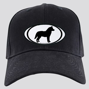 Siberian Husky Dog Oval Black Cap