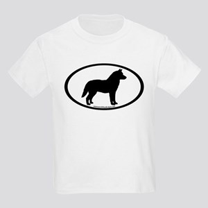 Siberian Husky Dog Oval Kids Light T-Shirt