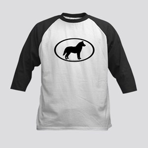 Siberian Husky Dog Oval Kids Baseball Jersey