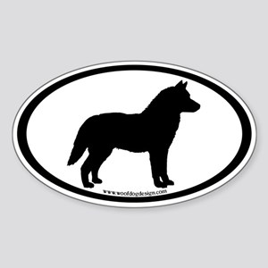 Siberian Husky Dog Oval Oval Sticker