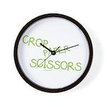 Green Crop Paper Scissors Wall Clock