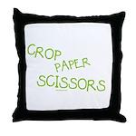 Green Crop Paper Scissors Throw Pillow