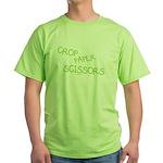 Green Crop Paper Scissors Green T-Shirt