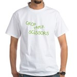 Green Crop Paper Scissors White T-Shirt