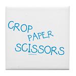 Blue Crop Paper Scissors Tile Coaster