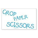 Blue Crop Paper Scissors Rectangle Sticker