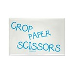 Blue Crop Paper Scissors Rectangle Magnet (100 pac