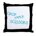 Blue Crop Paper Scissors Throw Pillow