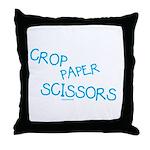 Blue Crop Paper Scissors Throw Pillow
