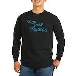 Blue Crop Paper Scissors Long Sleeve Dark T-Shirt