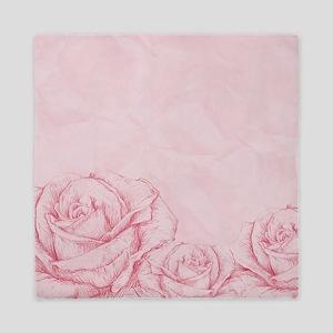 Decorative Vintage Roses Floral Pink Queen Duvet
