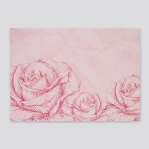 Decorative Vintage Roses Floral Pin 5'x7'Area Rug