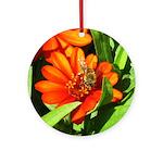Bee on Orange Daisy Round Ornament