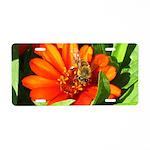 Bee on Orange Daisy Aluminum License Plate