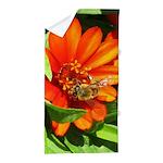 Bee on Orange Daisy Beach Towel
