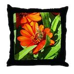 Bee on Orange Daisy Throw Pillow