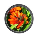 Bee on Orange Daisy Wall Clock