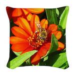 Bee on Orange Daisy Woven Throw Pillow
