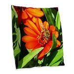 Bee on Orange Daisy Burlap Throw Pillow