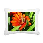 Bee on Orange Daisy Rectangular Canvas Pillow