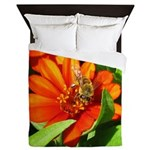 Bee on Orange Daisy Queen Duvet