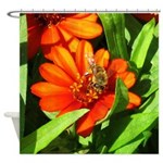 Bee on Orange Daisy Shower Curtain