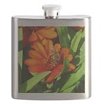 Bee on Orange Daisy Flask