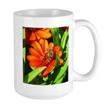 Bee on Orange Daisy Mugs