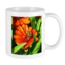 Bee on Orange Daisy Mugs