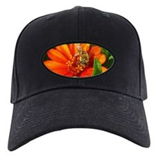 Bee on Orange Daisy Baseball Hat