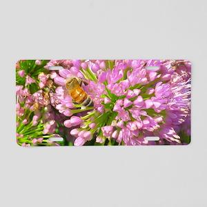 Bee on summer Milkweed Aluminum License Plate