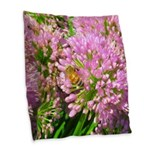 Bee on summer Milkweed Burlap Throw Pillow