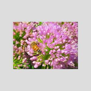 Bee on summer Milkweed 5'x7'Area Rug